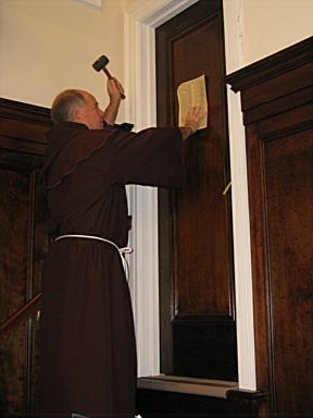 Martin Luther nailing the 95 Theses at Wittenberg